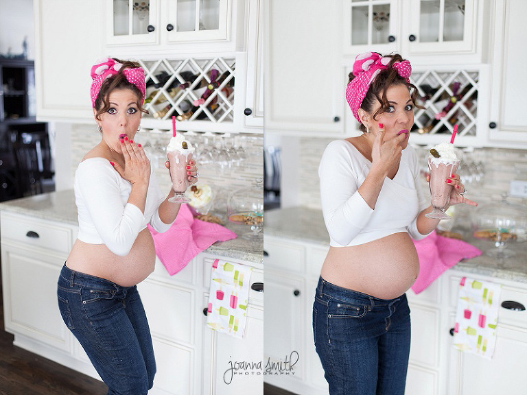 Fun maternity pregnant pictures of pregnancy cravings, milkshake craving, pickles pregnancy craving photoshoot maternity Chicago maternity photography