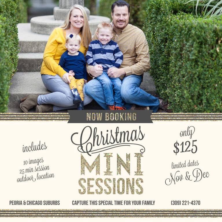 Chicago suburbs, family photography, holiday mini session, mini session, Christmas session, Peoria Illinois